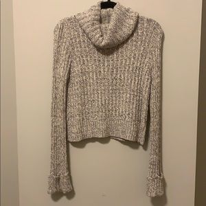Free People Cowl Neck Cropped Sweater - Cream